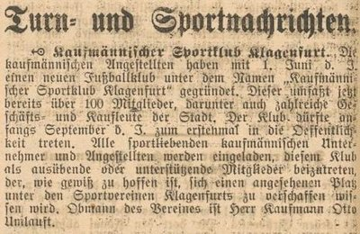 Artikel von der Gründung im Sommer 1920