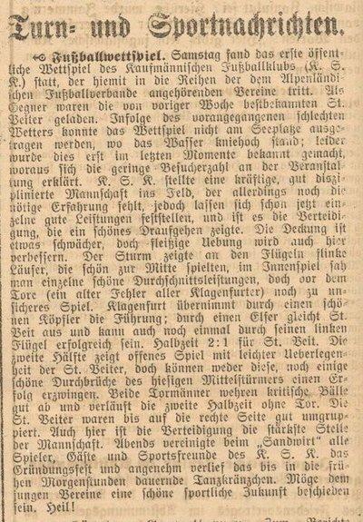 Erstes Spiel, 25. August 1920
