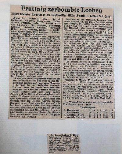 Zeitungsbericht 1960