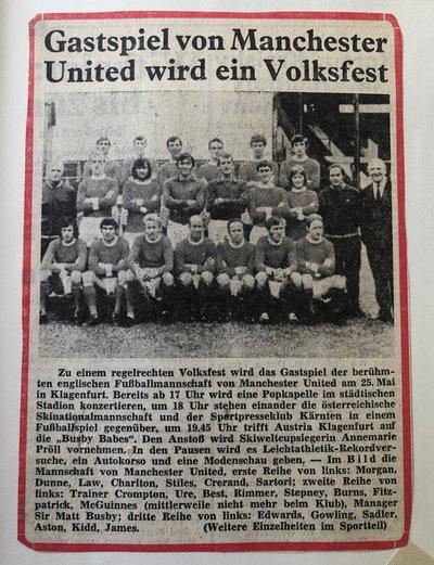Zeitungsartikel Manchester United 1971