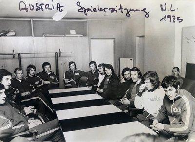 Austria Spielersitzung 1973 mit Jagodic