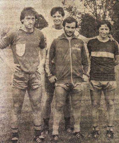 Gogo Golautschnig (Mitte) mit seinen Stürmerkollegen Kemal Beharic (links) und Iviza Senzen (rechts)