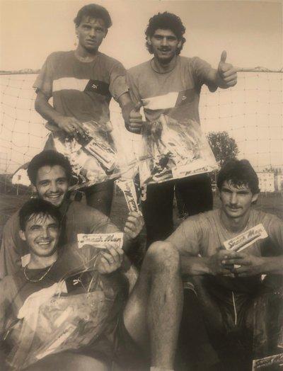 Heimo Vorderegger mit Teamkollegen 1988 wie Joze Prelogar